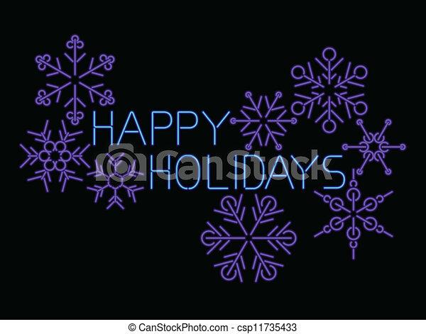 feliz, néon, feriados - csp11735433