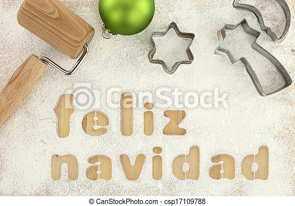 Feliz navidad baking preparation background - csp17109788