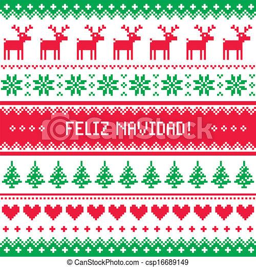 Feliz navidad card pattern - csp16689149