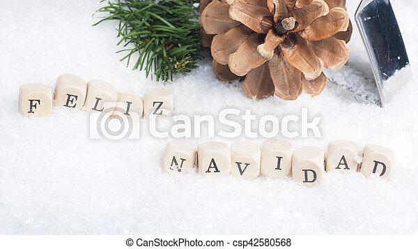 Feliz Navidad in snow - csp42580568