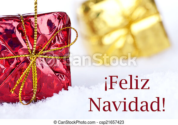 Feliz Navidad in the Snow with Gifts - csp21657423