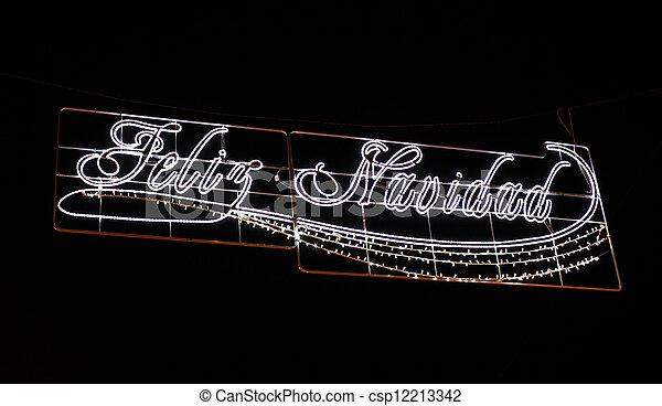 Feliz Navidad - Merry Christmas in spanish. Street decoration in Spain - csp12213342