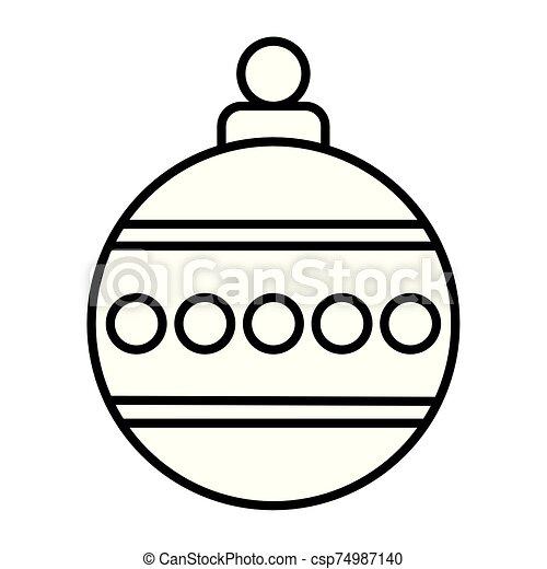 feliz navidad, pelota, icono, aislado - csp74987140