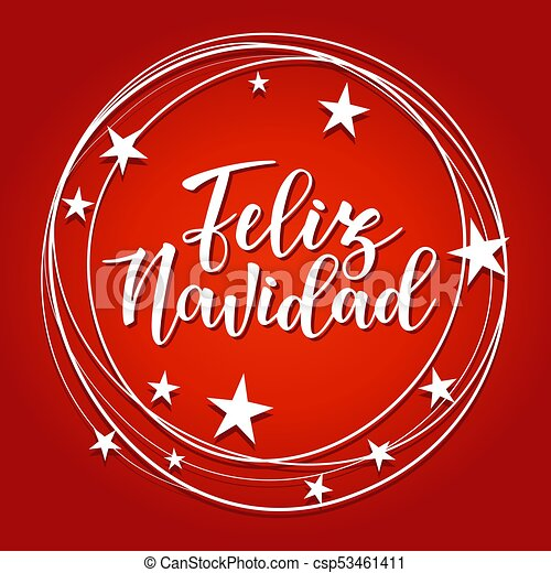 Vector illustration of a sketch greeting holiday red card and a vector illustration of a sketch greeting holiday red card and a circle frame decorationfeliz navidad spanish typography lettering m4hsunfo