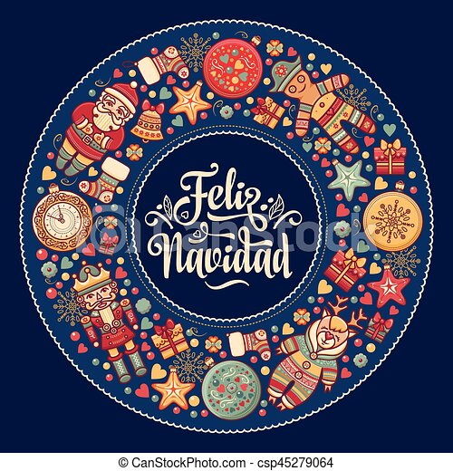 Feliz Navidad Xmas Card On Spanish Language Warm Wishes For Happy