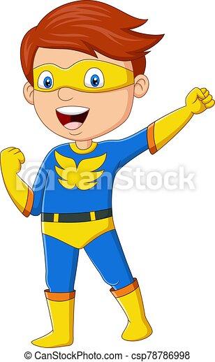 feliz, niño, posar, caricatura, superhero - csp78786998