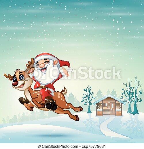 feliz, nieve, equitación, claus, saltar, santa, reno - csp75779631