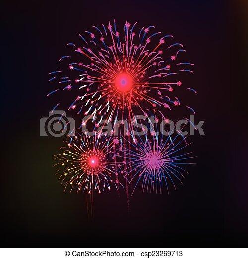 Feliz año nuevo con fuegos artificiales - csp23269713