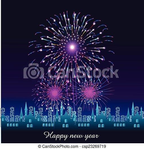 Feliz año nuevo con fuegos artificiales - csp23269719