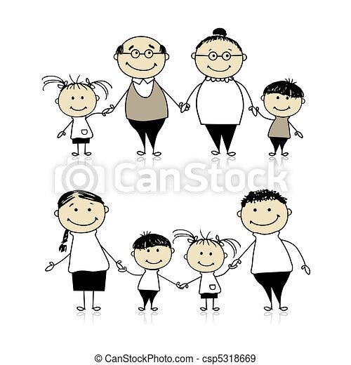 Una familia feliz, padres, abuelos y niños - csp5318669