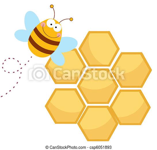 feliz panal abeja vector