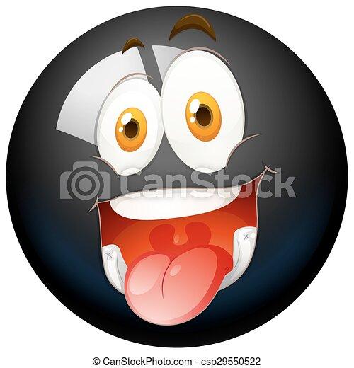 Cara feliz en la bola negra - csp29550522