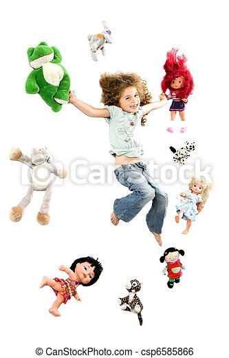 feliz, pequeno, cercado, menina, brinquedos - csp6585866