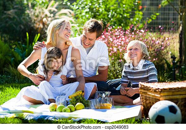 feliz, picnic, juntos, familia , juego - csp2049083