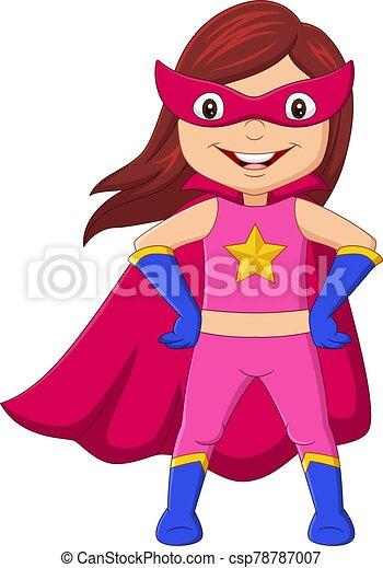 feliz, posar, caricatura, superhero, niña - csp78787007