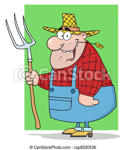 Un granjero feliz llevando un rastrillo - csp6520536