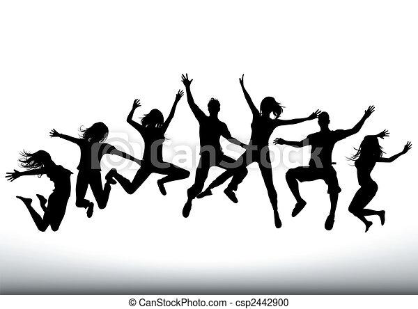 feliz, pular, pessoas - csp2442900