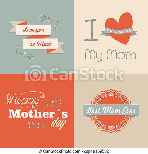 Retro feliz día de las madres - csp19169532