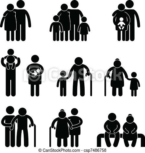 feliz, símbolo, sinal, família, ícone - csp7486758