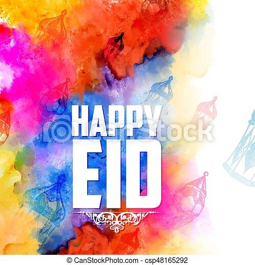 Eid mubarak feliz eid saludos de fondo para el festival religioso del Islam en el santo mes de Ramazan - csp48165292