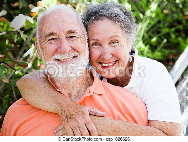 feliz, saudável, par, sênior - csp1826626