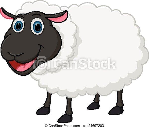 Caricatura feliz de ovejas - csp24697203