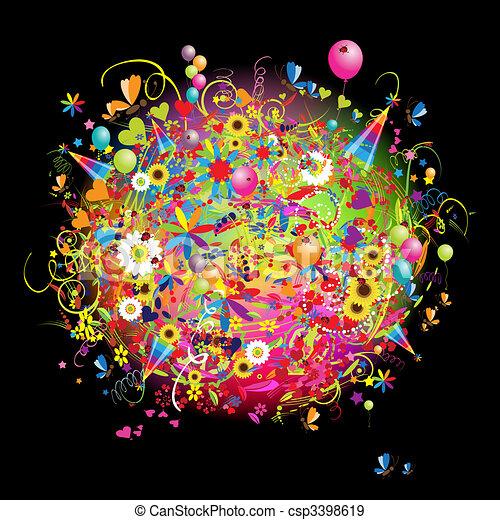 Felices fiestas, divertidas cartas con globos - csp3398619