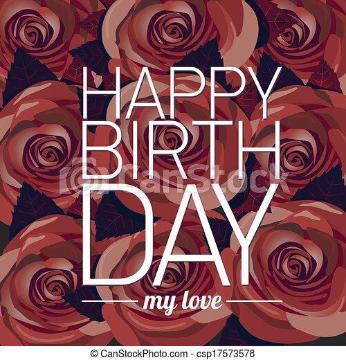 Vector feliz tarjeta de cumpleaños con flores rojas. - csp17573578