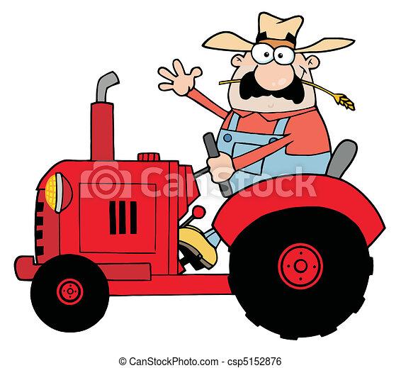Granjero feliz en tractor rojo - csp5152876