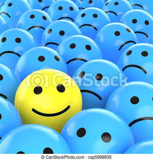 feliz, uns, entre, smiley, triste - csp5999935