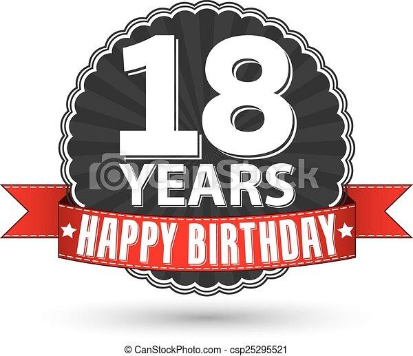 Feliz vector 18 ilustraci n a os cumplea os retro - Photocall cumpleanos 18 anos ...
