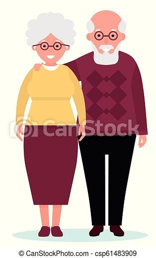 Una pareja feliz sonriendo sobre fondo blanco. Ilustración de vectores al estilo plano de dibujos animados - csp61483909
