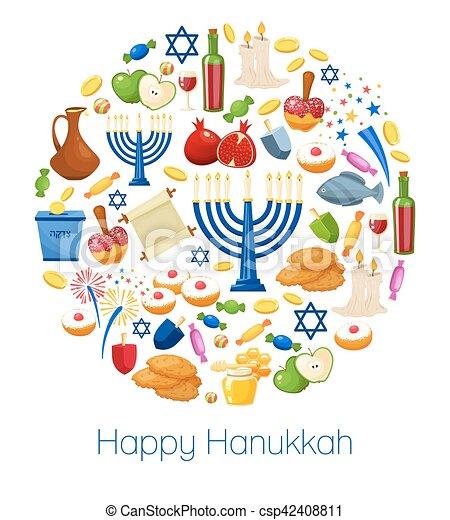 Feliz trasfondo vector Hanukkah - csp42408811