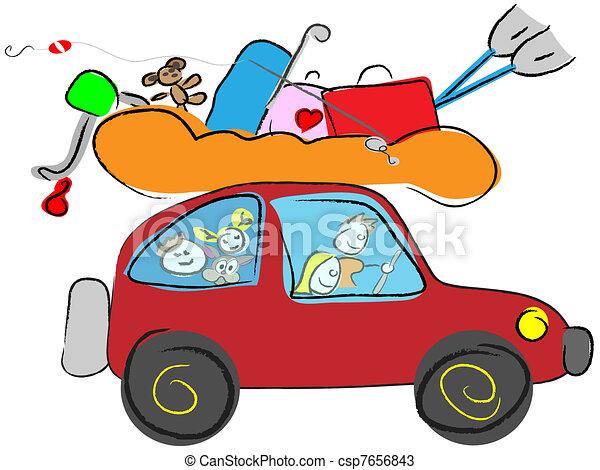 feliz, viajar, familia , caricatura - csp7656843