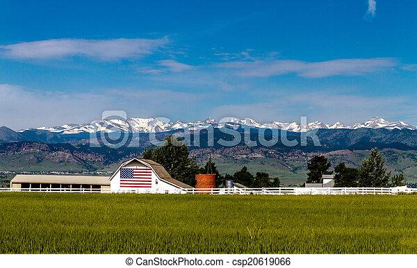 felsblock, fahne, co, amerikanische , scheune - csp20619066