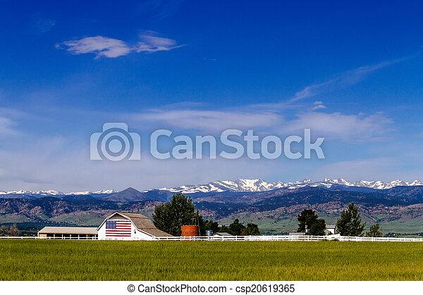 felsblock, fahne, co, amerikanische , scheune - csp20619365