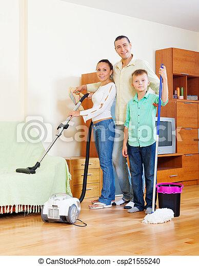 felszerelés, három, család, takarítás - csp21555240