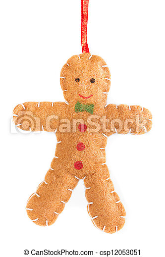 Felt gingerbread man tree decoration - csp12053051