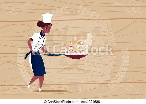 Line Art Uniform : Female african american chef cook holding frying pan cartoon clip