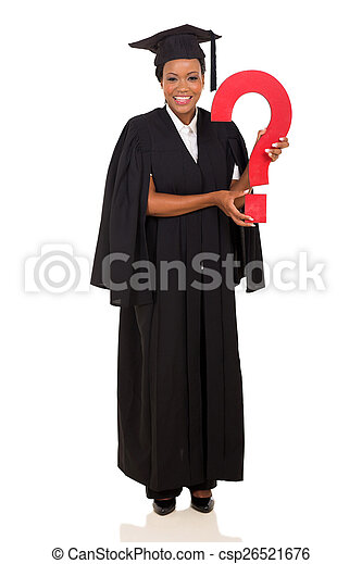 female african college graduate with question mark - csp26521676
