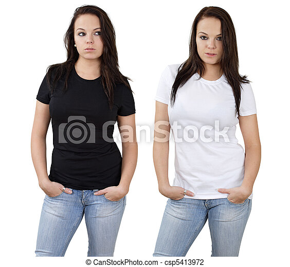 Female and blank white and black shirts - csp5413972