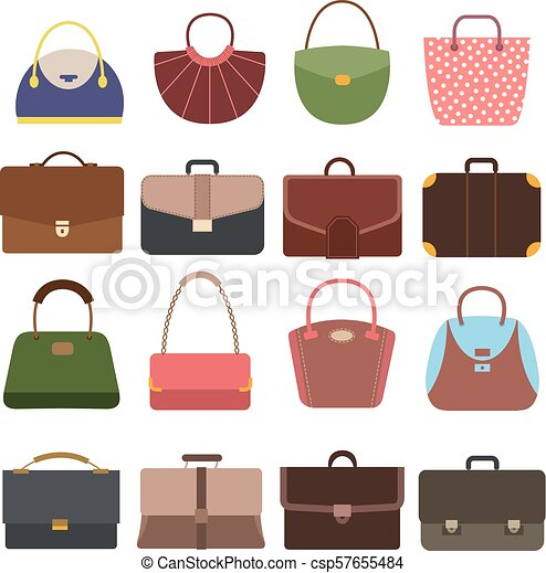 533c75946 Female and male handbags. Fashion lady purse and bag accessories vector  collection isolated - csp57655484