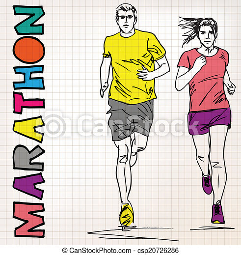 female and male runner sketch illustration - csp20726286