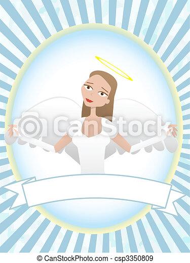 Female Angel inside oval banner advertisement setting - csp3350809