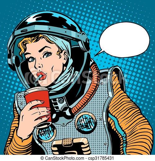 Female astronaut drinking soda - csp31785431