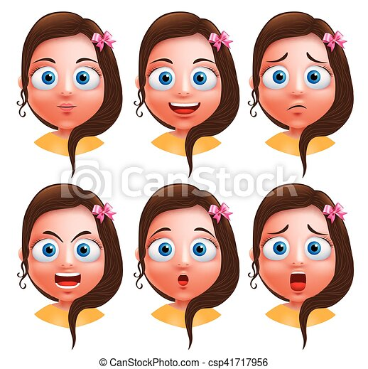 Female avatar vector character facial expressions