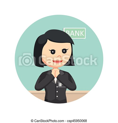 Teller clipart  Clip Art Vector of female bank teller in circle background ...