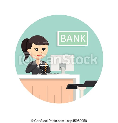 Female bank teller in circle background