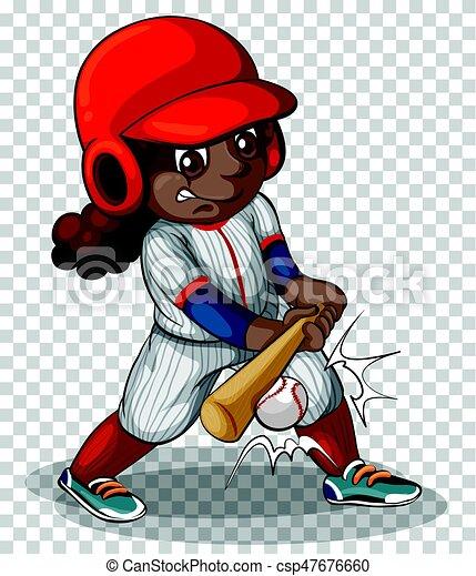 Female Baseball Player On Transparent Background Illustration