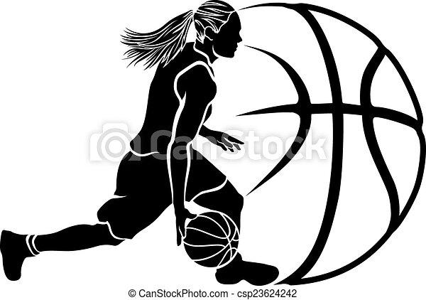female basketball dribble sihouette with ball basketball silhouette rh canstockphoto com Girl Shooting Basketball Girl Shooting Basketball